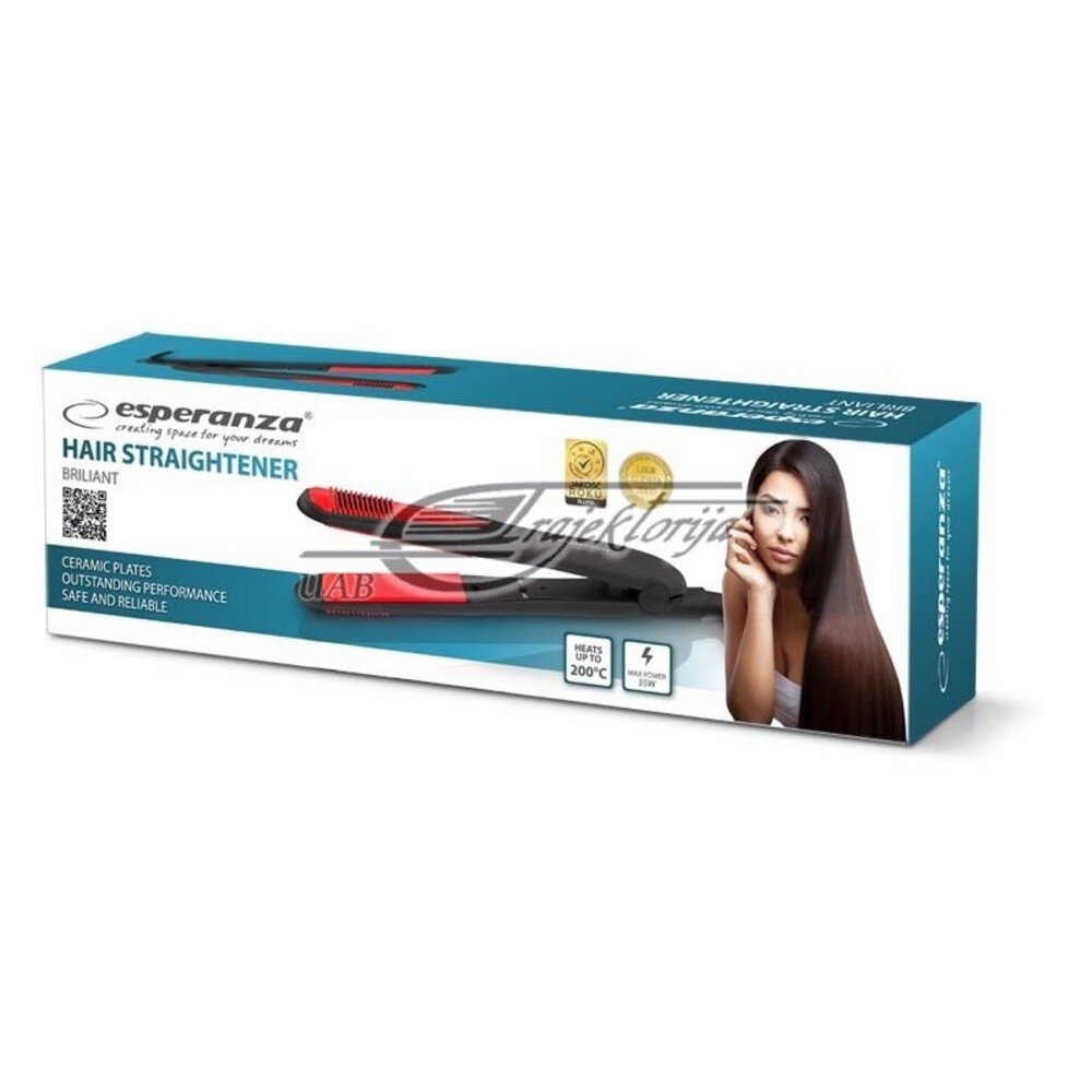 Straightener for hair Esperanza Brilliant EBP004 (35W, black color)